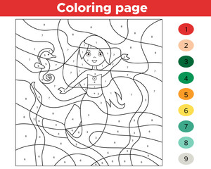 Color by numbers. Cute cartoon mermaid and seahorse. Educational game for children. Activity printable worksheet. Vector illustration