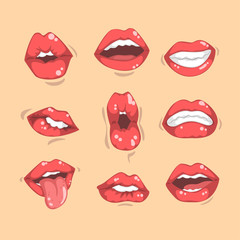 Set of red women's lips with different emotions. Female mouths with white teeth. Flat vector for mobile app, sticker or promo poster