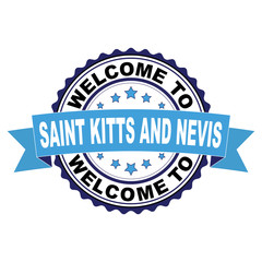 Welcome to Saint Kitts and Nevis blue black rubber stamp illustration vector on white background