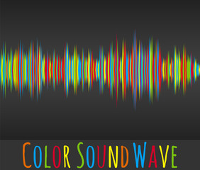 Color sound wave. Vector illustration. Schedule oscillation of mathematical function. Colored bars on a dark background. Random vibration of amplitude.