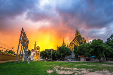 Natural evening in Temple (Thai language:Wat Chan West) is a Buddhist temple (Thai language:Wat) It is a major tourist attraction Phitsanulok, Thailand.July 5, 2018