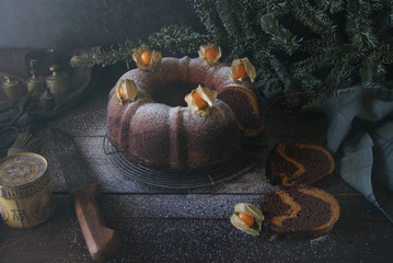 Delicious Bundt cake with chocolate and pumpkin