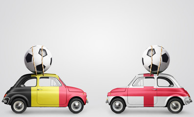 Belgium and England football cars