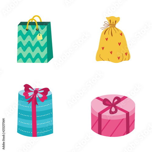 present box shopping bag with bright wrapping ribbon bow set birthday party