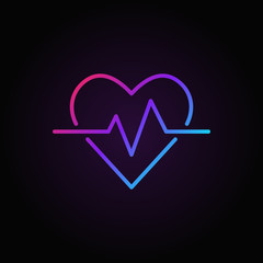 Heartbeat vector colored icon. Heart rate outline symbol