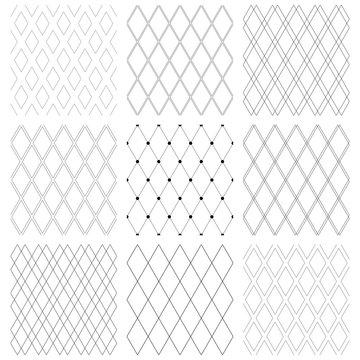 Seamless diamonds patterns. Geometric latticed textures.