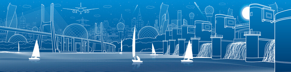 City infrastructure panoramic illustration. Big bridge across river. Hydroelectric Power Station. Sailing yachts on water. White lines on blue background. Vector design art