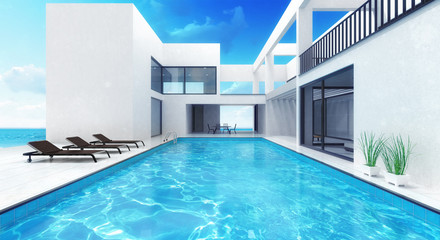 summer house residence with swimming pool