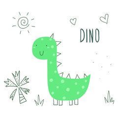 Cute hand drawn dinosaur illustration. vector print