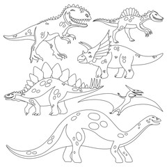 Beautiful coloring book for children with a set of dinosaurs on a white background.