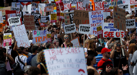 Demonstrators protest against the visit of U.S. President Donald Trump, in central London