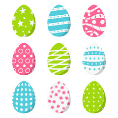 Set of color Easter eggs, isolated on white background. Vector illustration.