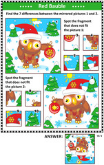 New Year or Christmas visual puzzles with owl and red bauble. Find the differences between the mirrored pictures. Spot the wrong fragments. Answers included.