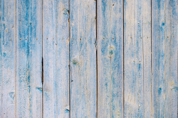 structure of wooden boards with a blue background
