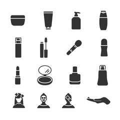 Vector image set of cosmetics icons.