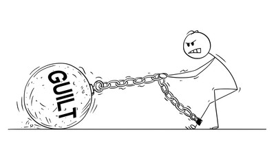 Cartoon stick drawing conceptual illustration of man or businessman pulling hard big Iron ball chained to his leg. Business concept of guilt that lie heavy on guilty person .
