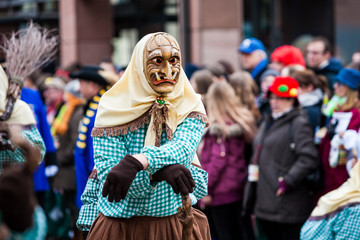 Narrenumzug - Carnival in southern Germany Fasnacht, Mask parade at the historical annual carnival