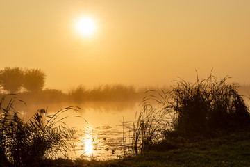 Magical moments as the rising sun reflects in the water during a foggy morning