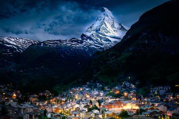 Wall Mural - Switzerland Travel Sunset over Zermatt