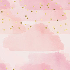 Ombree seamless pattern - watercolor pattern in pink shades and gold confetti