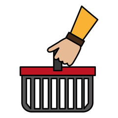 hand lifting shopping basket
