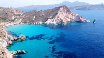 Fotobehang Gletsjers Aerial drone bird's eye view of volcanic and exotic rocky beach with turquoise and sapphire clear waters of Plathiena in island of Milos, Cyclades, Greece