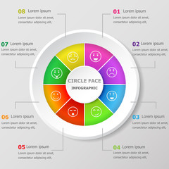 Infographic design template with circle face icons