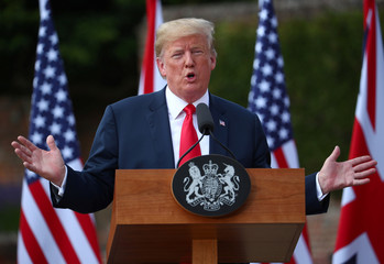 Britain's Prime Minister Theresa May and U.S. President Donald Trump hold a joint news conference at Chequers, the official country residence of the Prime Minister, near Aylesbury