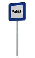 deutsches Hinweisschild für Polizei auf weiß isoliert.Text Polizei auf deutsch. 3d render