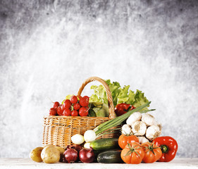 Autumn vegetables and free space for your decoration.