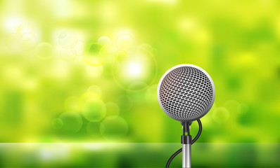 Vector Illustration of the microphone isolated on green bokeh abstract background.