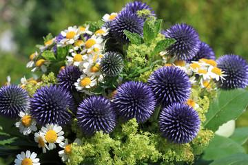 Blumenstrauß mit Gänseblümchen und Kugeldistel