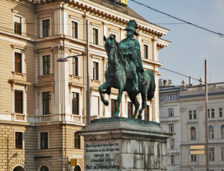 Monument to Schwarzenberg on Schwarzenbergplatz square in Vienna. Austria