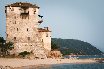 Beautiful view of Ouranoupolis tower in Chalkidiki, Greece on sunny summer day