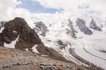 Diavolezza, Bernina, Pontresina, Gletscher, Piz Palü, Piz Trovat, Bergstation, Oberengadin, Engadin, Graubünden, Wanderweg, Sommer, Schweiz