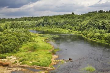 Voloshka river near Lazarevskaya village. Kargopolsky district. Arkhangelsk oblast. Russia