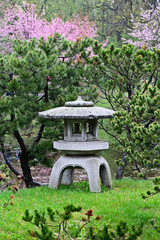 Japanese Yukimi lantern in the garden