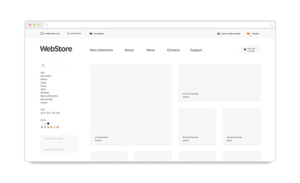 Blank white web store template mock up isolated, 3d rendering. Clear web page interface mockup. Internet website template. Webstore layout for computer display.