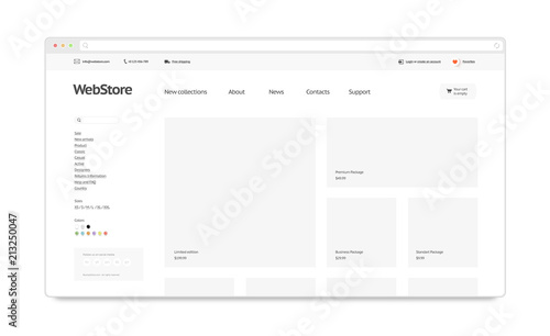 blank white web store template mock up isolated 3d rendering clear