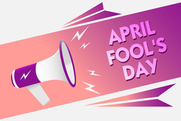 Writing note showing April Fool s is Day. Business photo showcasing Practical jokes humor pranks Celebration funny foolish Sound speaker convey messages ideas three text lines logo type design.