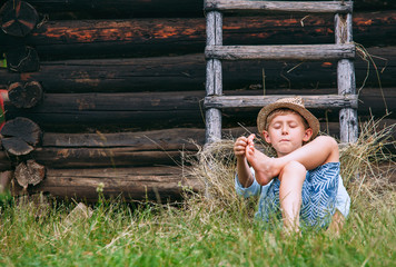 Lazy boy lies in grass under the barn - careless summer on countryside