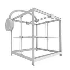 3D Printer isolated on white render illustration