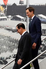 U.S. Secretary of the Treasury Steven Mnuchin and White House Special Advisor Jared Kushner arrive at Benito Juarez International airport in Mexico City
