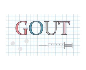 gout word on checkered paper sheet- vector illustration