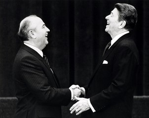 File photo of U.S. President Ronald Reagan shaking hands with Soviet leader Mikhail Gorbachev in Geneva