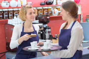 couple barista coffee shop service restaurant