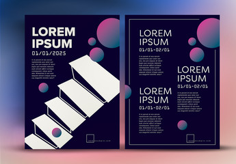 Flyer Layout with Abstract Gradient Elements