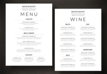 Food and Wine Menu Layout in Two Sizes