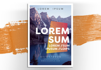 Event Flyer Layout with Mountain Scenery