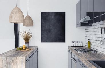 Mock up poster frame in kitchen interior, Scandi-boho style, 3d render